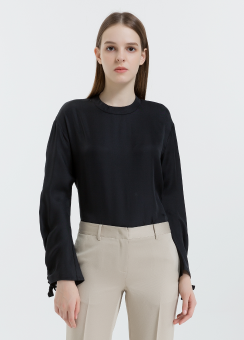 [Women] Midweight silk twill ruched top