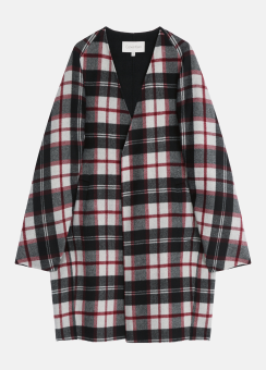 [Women] Wool plaid double face cocoon coat - hand-stitch