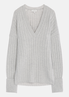 [Women] Soft wool cashmere ribbed l/s top