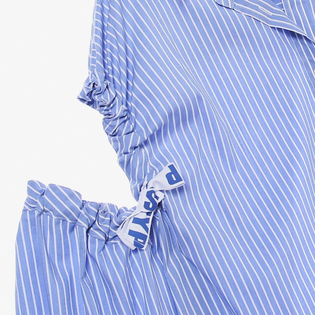 에스제이와이피(SJYP) 면 혼방 스트라이프 숄더 오픈 셔츠 PW1J9WBL010W BL