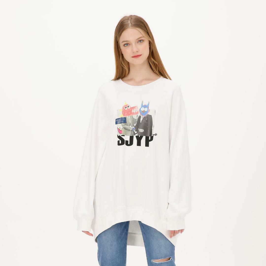 에스제이와이피(SJYP) 면 오버사이즈 그래픽 맨투맨 티셔츠 PW1J9WTS079W WT