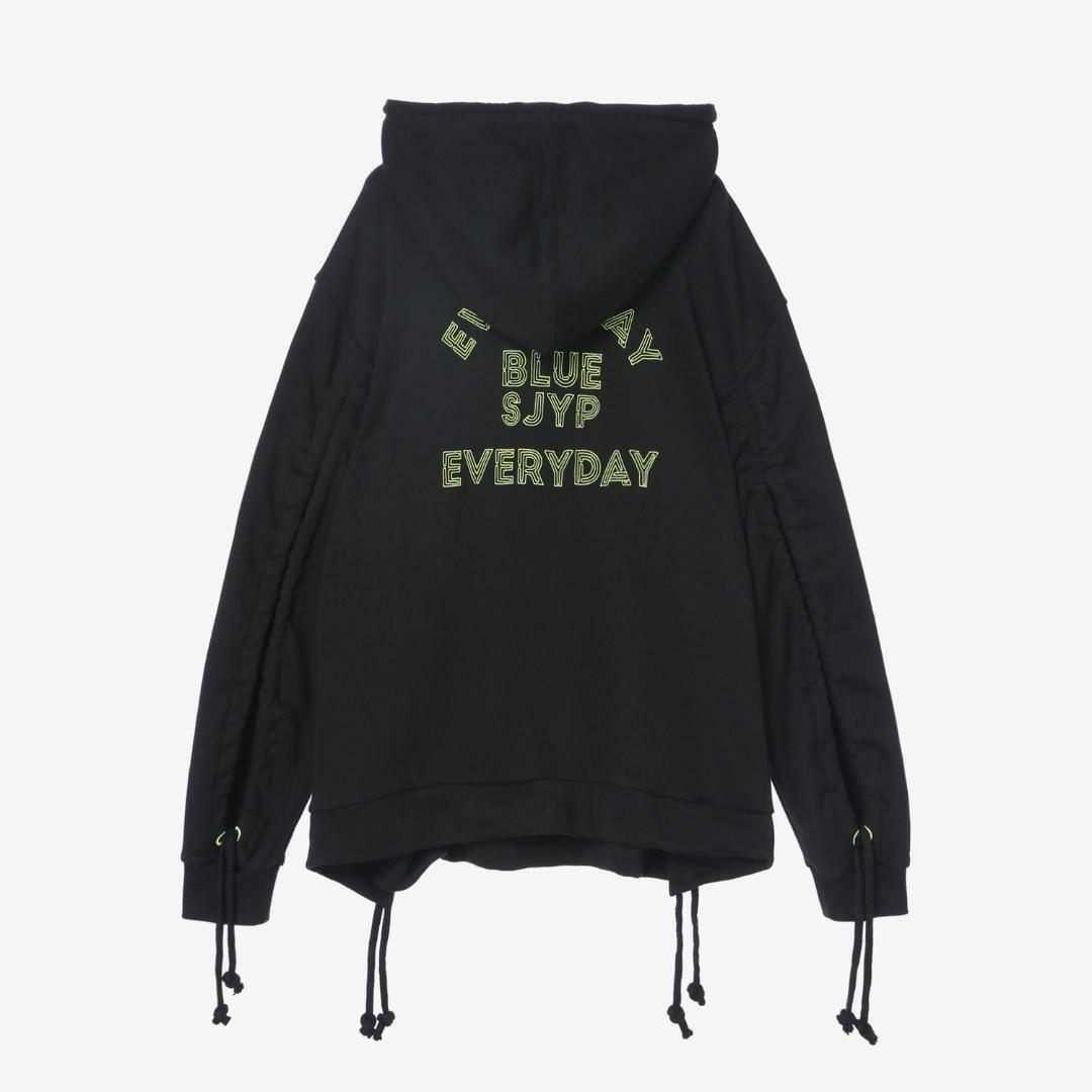 에스제이와이피(SJYP) 면 혼방 사이드 오픈 후드 티셔츠 PW1J9WTS090W BK