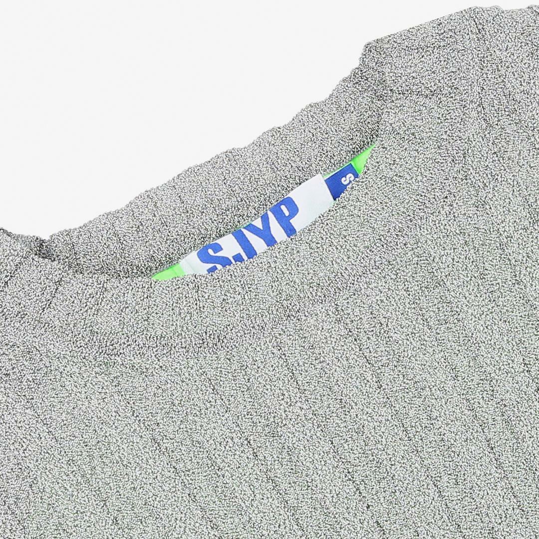 에스제이와이피(SJYP) 슬림핏 배색 니트 탑 PW2A1KPO439W GY