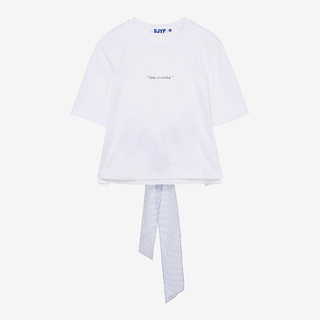 에스제이와이피(SJYP) 면 백타이 반소매 티셔츠 PWMT1WX20000 001