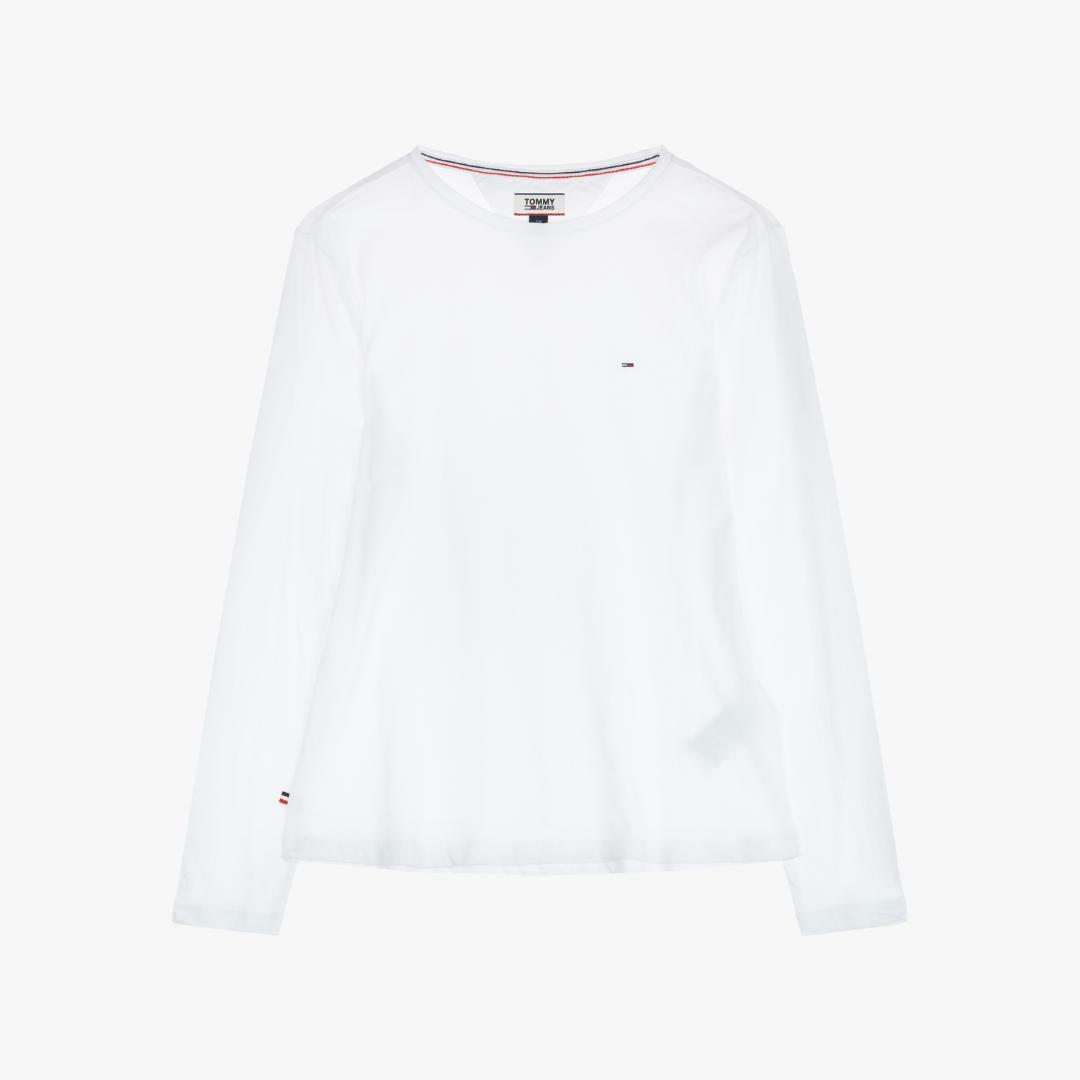 타미진스(TOMMY JEANS) [여성] 코튼 솔리드 긴소매 티셔츠 T31J6TTO001WT5 WT
