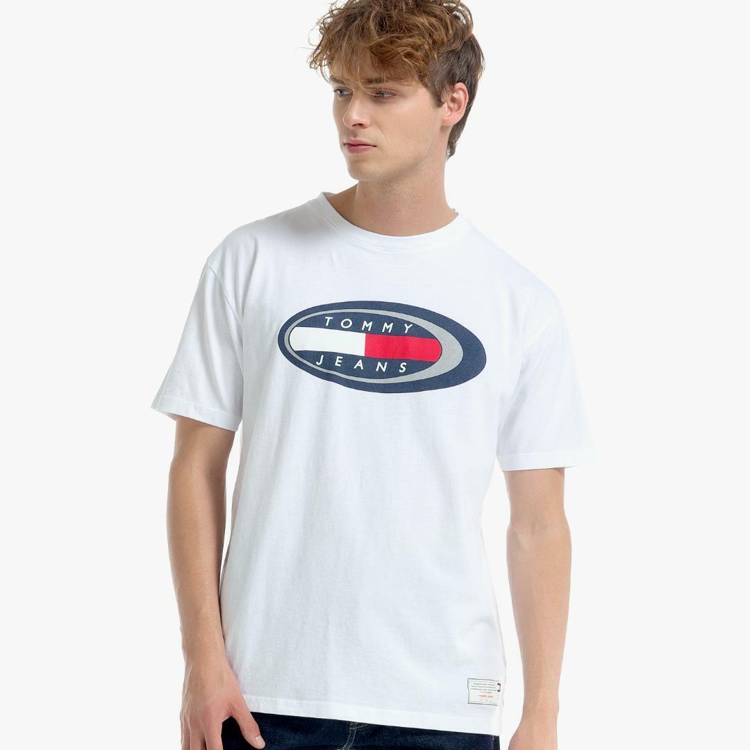 타미진스(TOMMY JEANS) [HERITAGE CAPSULE] [남성] 코튼 플래그 로고 반소매 티셔츠 T31J6TTO093MT1 YA2