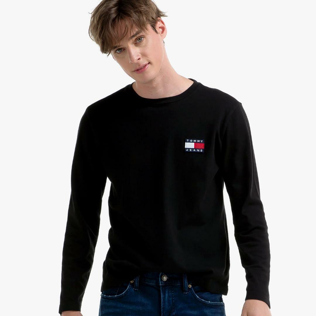 타미진스(TOMMY JEANS) [공용] 코튼 뱃지 로고 긴소매 티셔츠 T31J7TTO042MT6 BBU