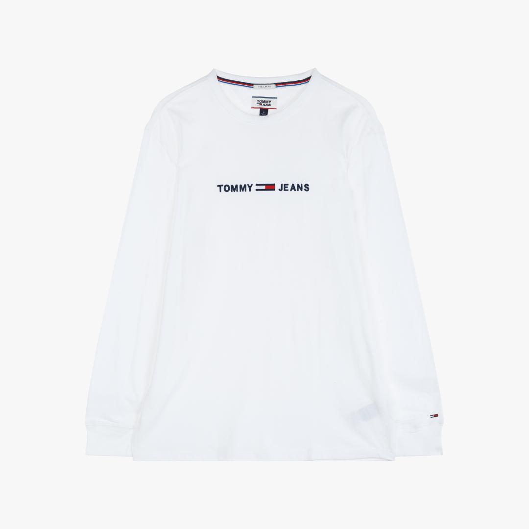 타미진스(TOMMY JEANS) [남성] 코튼 로고 크루넥 티셔츠 TJMS3KOE26A0 N00