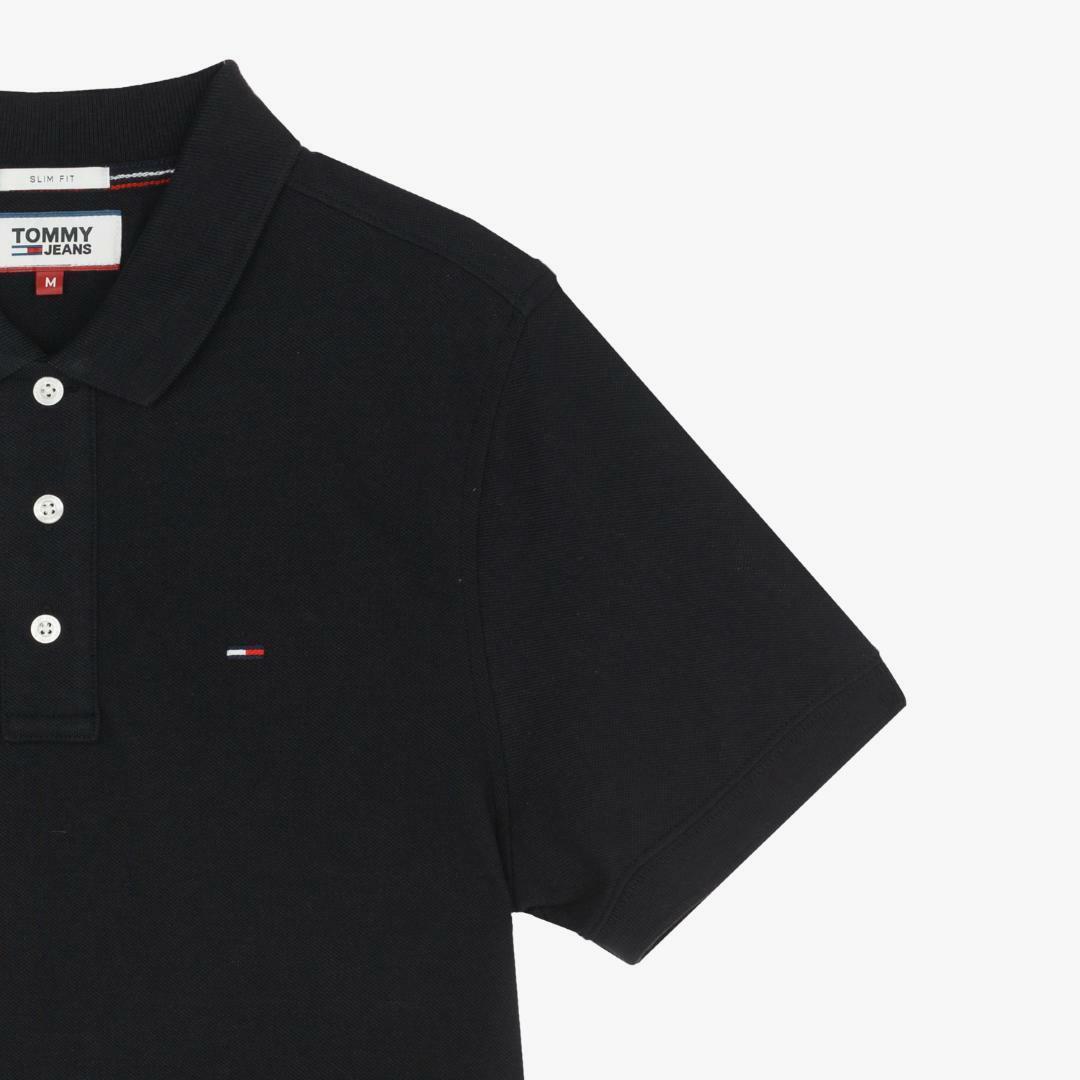 타미진스(TOMMY JEANS) [남성] 코튼 슬림핏 폴로 티셔츠-BLACK TJMT1KTE01D0 N90