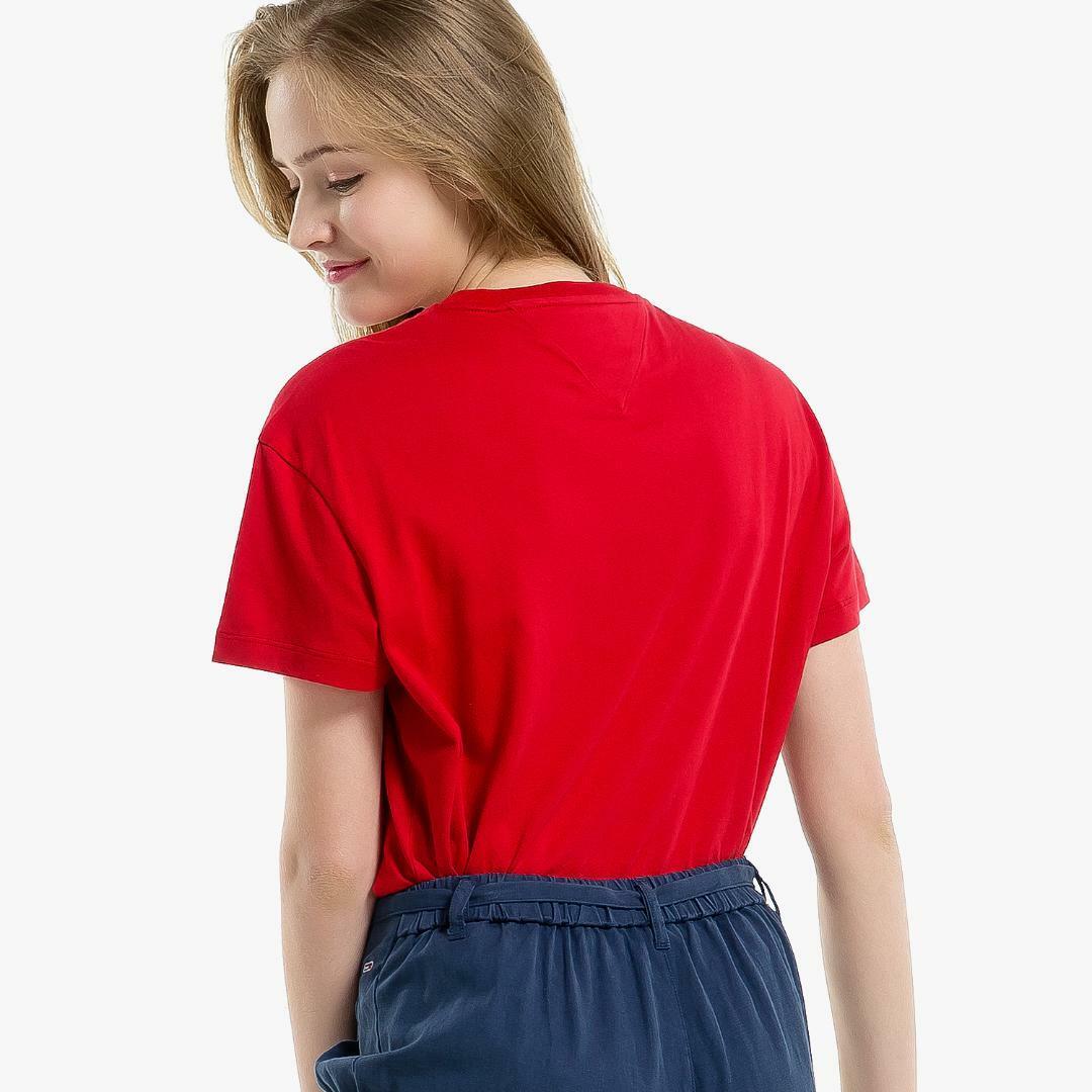 타미진스(TOMMY JEANS) [여성] 코튼 베이직 로고자수 반소매 티셔츠-DEEP CLARET TUMT1KOE26D0 R60