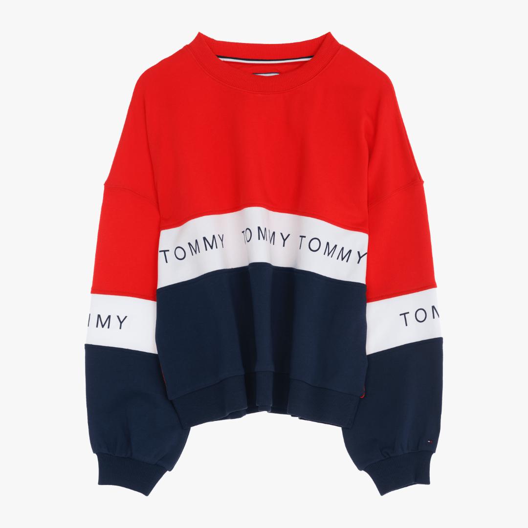 타미진스(TOMMY JEANS) [여성] 코튼 컬러블록 하프 티셔츠 TUMT1KOE33D0 3D0