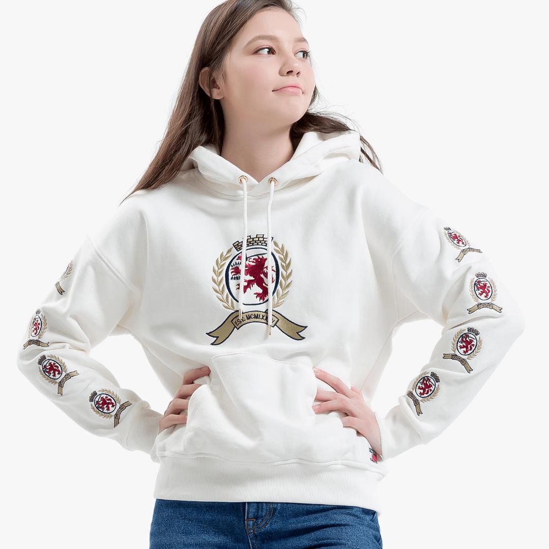타미진스(TOMMY JEANS) [Crest Capsule] [여성] 코튼 크레스트 긴소매 후드 티셔츠 TUMT1KOE94A0 W10