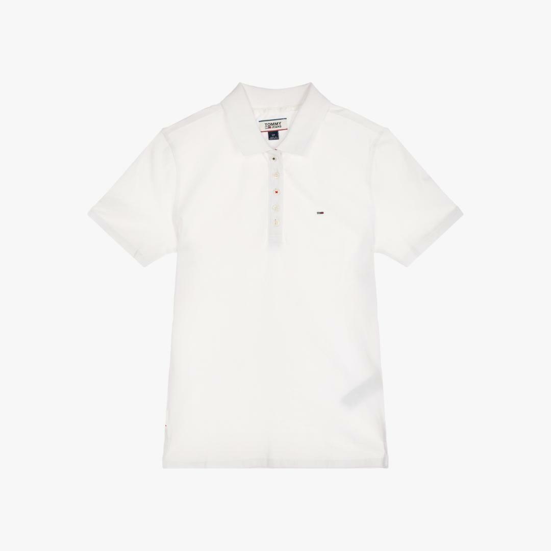 타미진스(TOMMY JEANS) [여성] 면혼방 폴로 반소매 티셔츠-WHITE TUMT1KTE01A0 N00