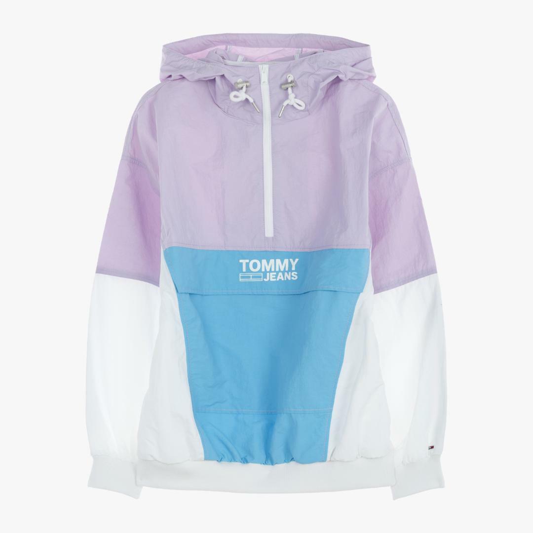 타미진스(TOMMY JEANS) [여성] 나일론 오버사이즈핏 레트로 컬러블록 팝오버 자켓 TUMT2JJE53A0 V19